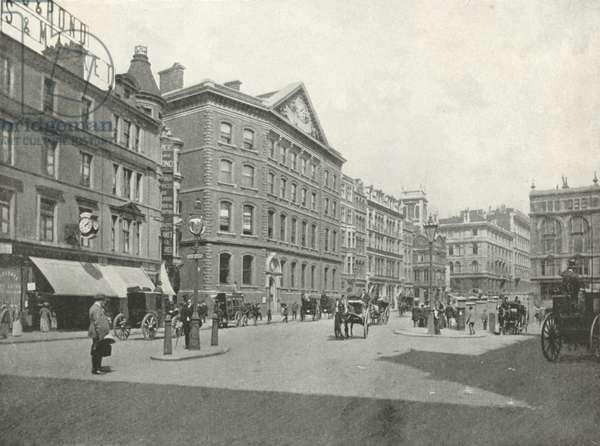 """The Times"" Office, and Western End of Queen Victoria Street (b/w photo)"