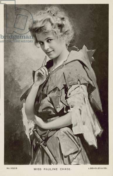 Pauline Chase, American actress, as Peter Pan (b/w photo)