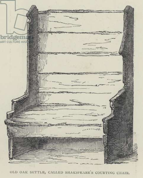 Old Oak Settle, called Shakspeare's Courting Chair (engraving)