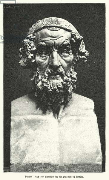 Marble bust of Homer, Ancient Greek poet (litho)