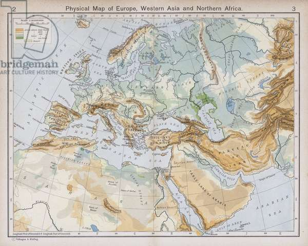 Physical Map of Europe, Western Asia and Northern Africa (colour litho)
