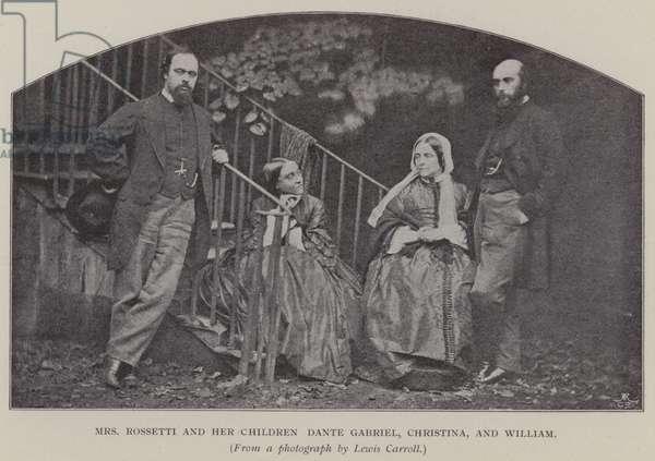 Mrs Rossetti and her Children Dante Gabriel, Christina, and William (b/w photo)