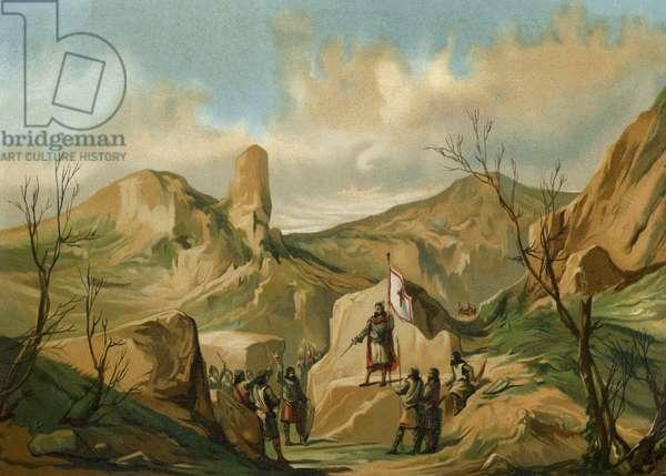 Pelagius of Asturias at Covadonga, Spain, c722 (chromolitho)