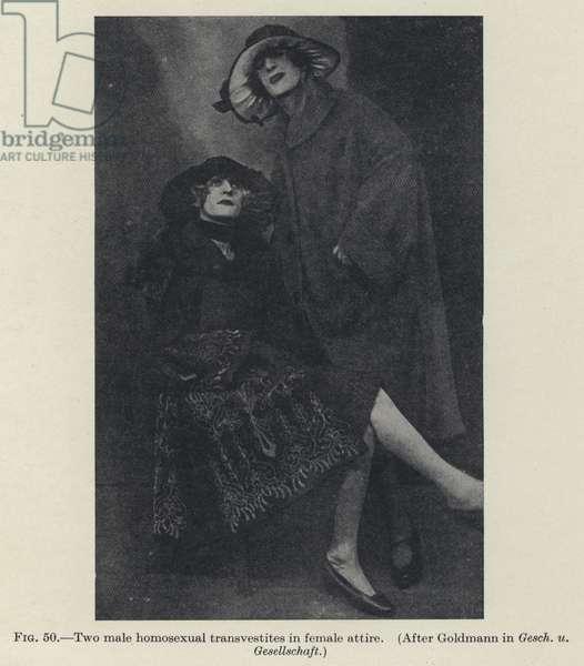 Two male homosexual transvestites in female attire (b/w photo)