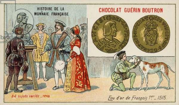 Gold ecu of Francis I, 1515 (chromolitho)