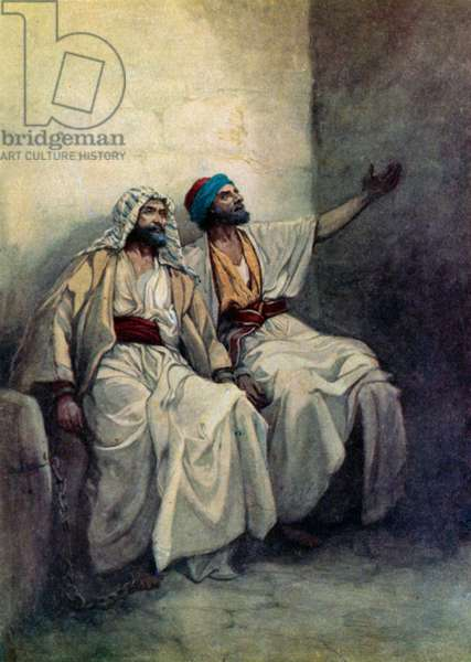 Paul and Silas joyful in prison (colour litho)