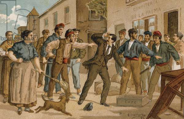 An agent confronted by an angry crowd outside a confectionery shop (chromolitho)