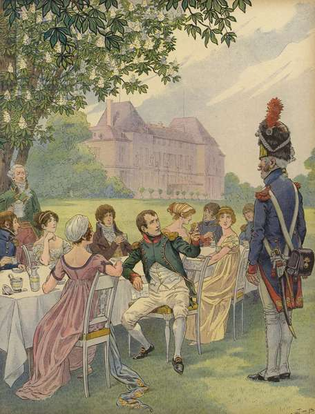Napoleon Bonparte and Josephine at a garden party in the grounds of the Chateau de Malmaison (colour litho)