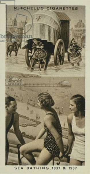 Wonderful Century, 1837-1937: Sea Bathing, Bathing Machine, Eighteen-thirties, Modern Bathing Dress (litho)