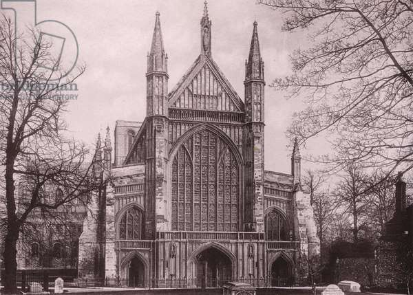 Winchester Cathedral, West Front (b/w photo)