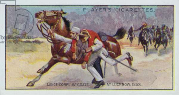 Victoria Cross: Lance-Corpl W Goate, at Lucknow, 1858 (colour litho)
