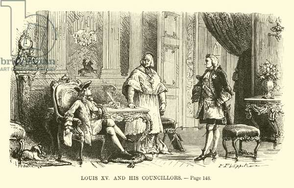 Louis XV and his councillors (engraving)