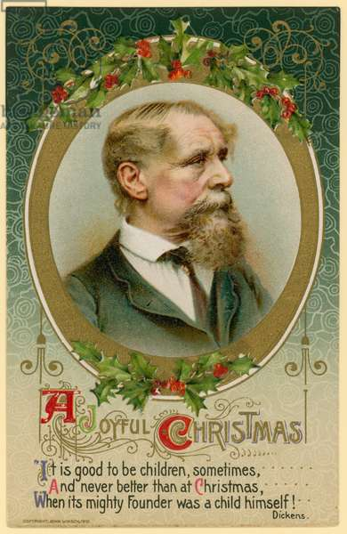 Christmas card, featuring Charles Dickens (chromolitho)