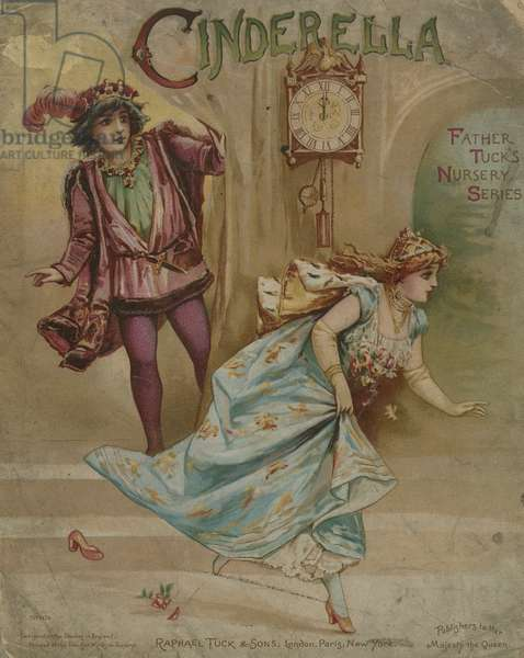 Cinderella running from the ball at midnight (chromolitho)