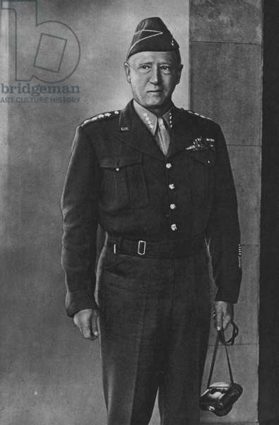 Lieutenant-General George S Patton, Commander of the US 3rd Army (b/w photo)