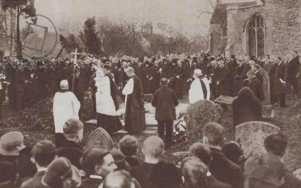 Funeral of H H Asquith, Earl of Oxford, Liberal politician and Prime Minister, Sutton Courtenay, Berkshire, 1928 (b/w photo)