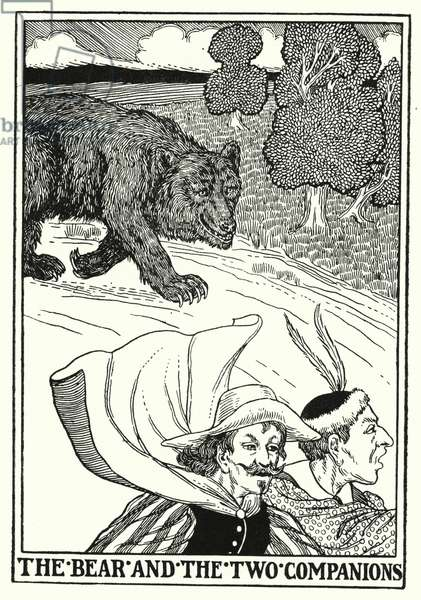 Fables of La Fontaine: The bear and the two companions (litho)