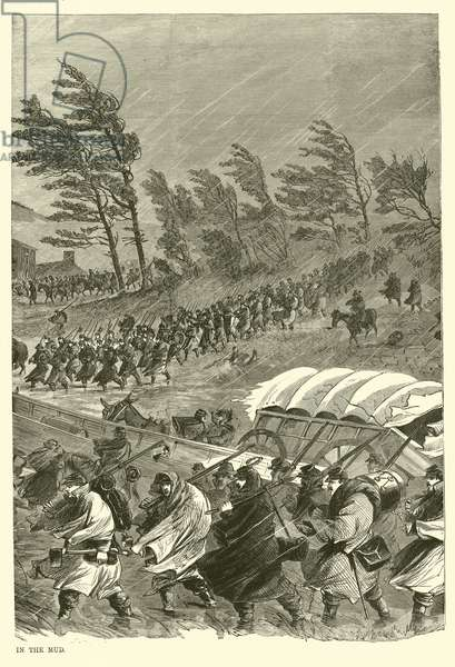 The campaign in the mud, January 1863 (engraving)