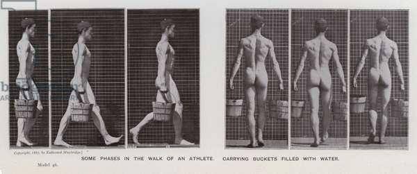 The Human Figure in Motion: Some phases in the walk of an athlete, carrying buckets filled with water (b/w photo)