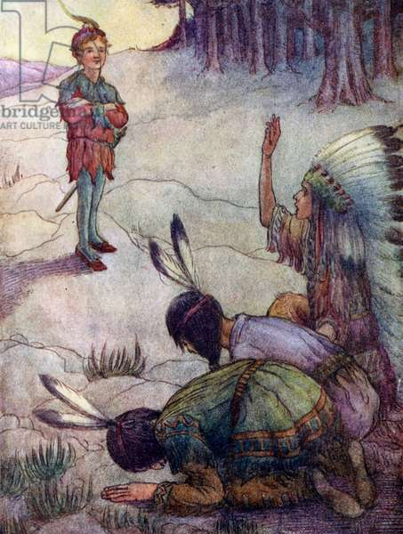 Indians saluting Peter Pan, as Great White Father (colour litho)