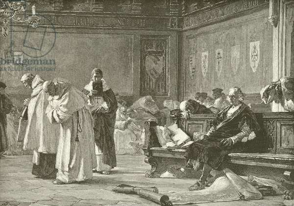 Columbus ridiculed at the council of Salamanca (engraving)