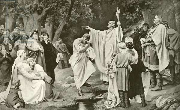 Charlemagne at Witikind's Baptism (gravure)