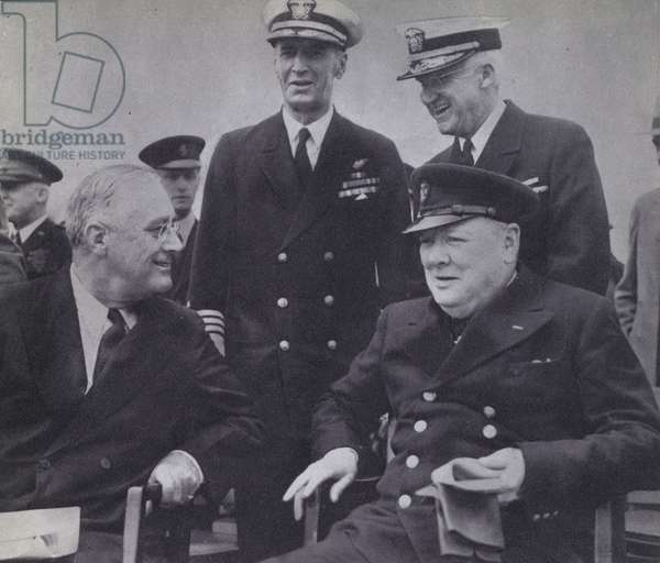 US President Franklin D Roosevelt and British Prime Minister Winston Churchill meeting to agree the Atlantic Charter, World War 2, August 1941 (b/w photo)