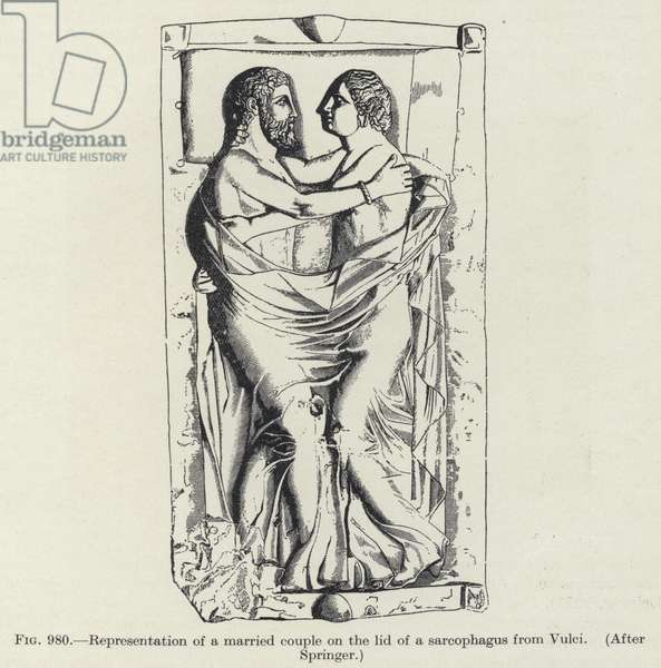 Representation of a married couple on the lid of a sarcophagus from Vulci (litho)