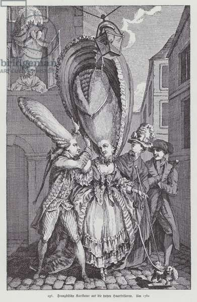 French cartoon lampooning women's hairstyles of the time, 1780 (litho)