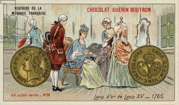 Gold louis of Louis XV, 1765 (chromolitho)