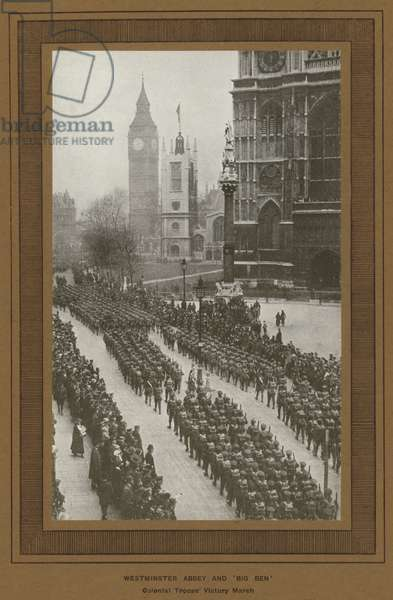Victory Celebrations in London in 1919, Westminster Abbey and 'Big Ben' (b/w photo)