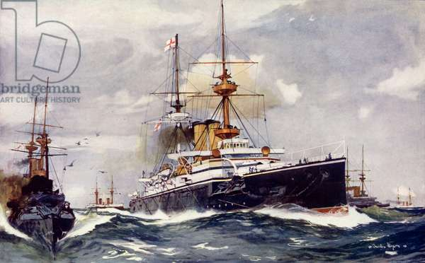 "The ""Majestic."" Flagship of the Channel Squadron, 1901 (colour litho)"