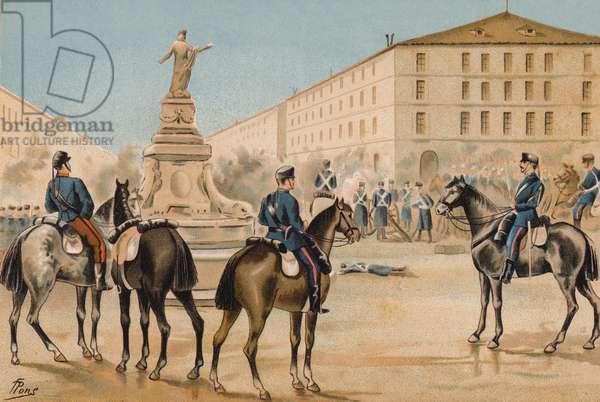 Disarmament of the Voluntarios de la Libertad, Zaragoza, Spain, 1874 (chromolitho)