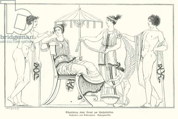 Cassandra being readied for her wedding to Bellerophon (engraving)