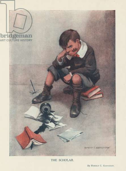 The Scholar - boy who has spilled ink over his work, and is looking very bad tempered. (colour litho)
