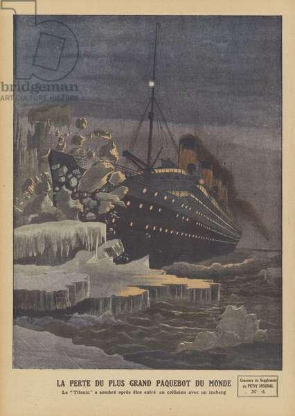 The Titanic colliding with the iceberg (colour litho)
