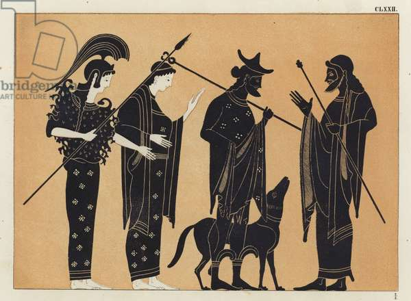Ancient Greek figures, including Athena, with dog (colour litho)