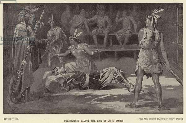 Pocahontas saving the Life of John Smith (litho)