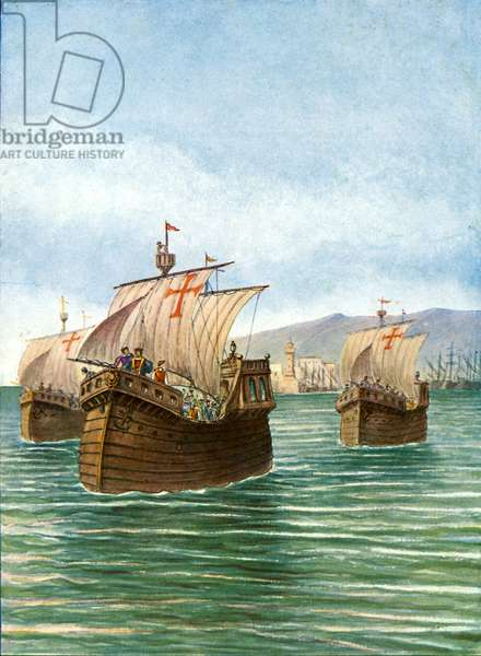 The departure of Cristopher Columbus' three ships