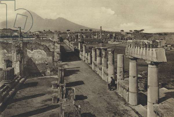 Naples: Pompei, Foro Civile Col Panorama (b/w photo)