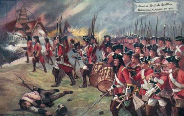 British troops storming the village, Battle of Blenheim, Bavaria, War of the Spanish Succession, 1704 (colour litho)