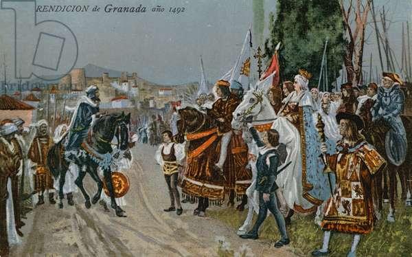 The surrender of Granada, 1492 (colour litho)