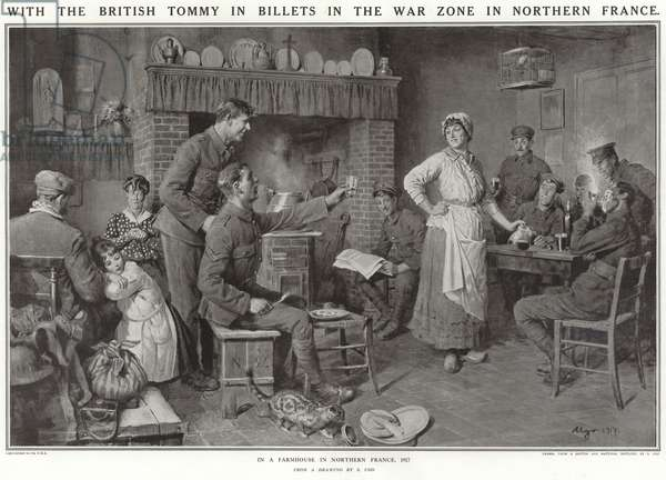 With the British Tommy in billets in the war zone in Northern France (litho)
