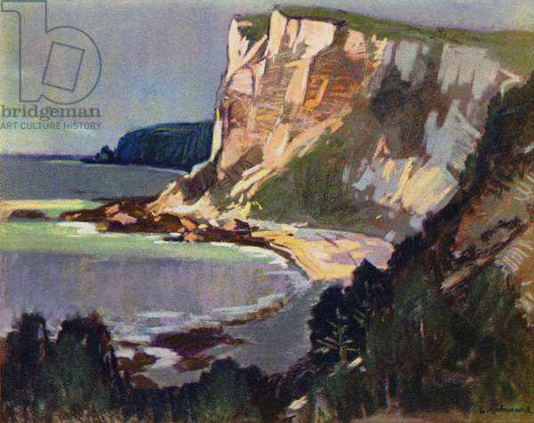 Chalk Cliffs, East Devon (colour litho)
