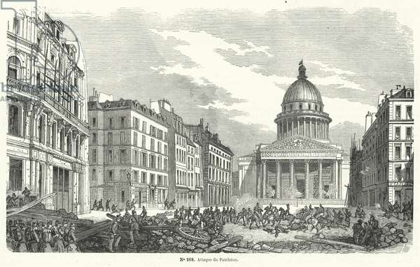 French army troops attacking insurgents occupying the Pantheon, Paris, 24 June 1848 (engraving)