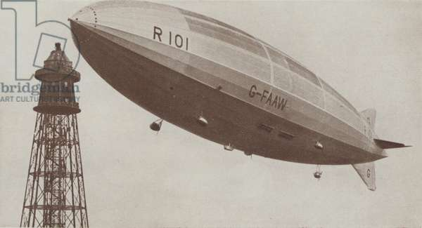 British airship R101 setting off on a test flight, 1929 (b/w photo)