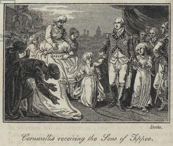 Cornwallis receiving the Sons of Tippoo (engraving)