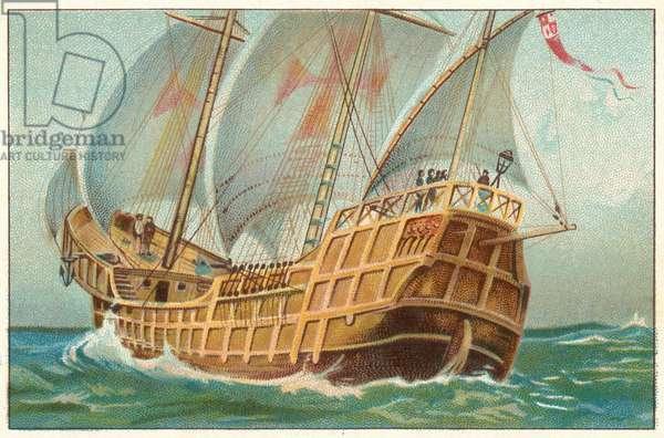 "The ""Santa Maria,"" The Flagship of Christopher Columbus (chromolitho)"