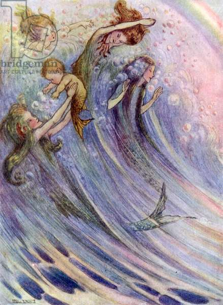 Mermaids playing (colour litho)