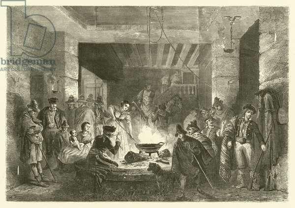 Posada, an inn in the Sierra Nevada, Spain (engraving)